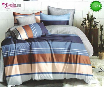 Спално бельо от 100% памук, 6 части - двулицево, с код T-141