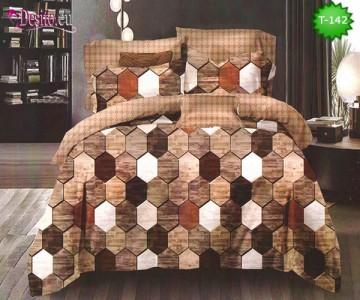 Спално бельо от 100% памук, 6 части - двулицево, с код T-142
