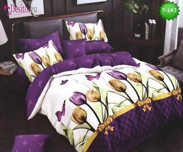 Спално бельо от 100% памук, 6 части - двулицево, с код T-143
