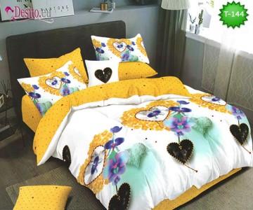 Спално бельо от 100% памук, 6 части - двулицево, с код T-144
