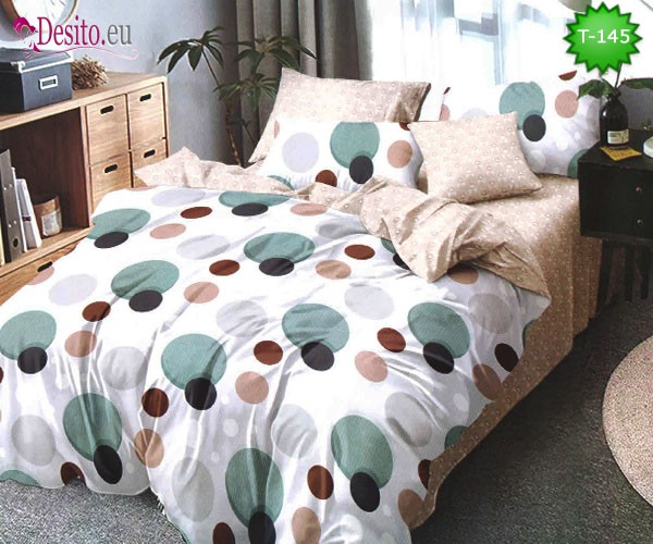 Спално бельо от 100% памук, 6 части - двулицево, с код T-145