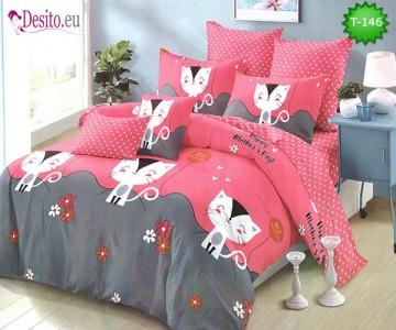 Спално бельо от 100% памук, 6 части - двулицево, с код T-146
