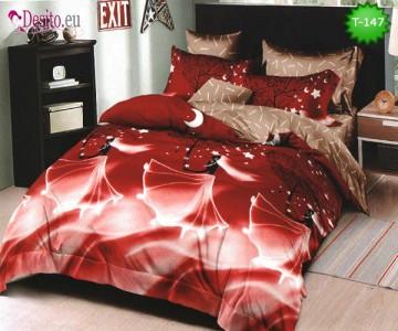 Спално бельо от 100% памук, 6 части - двулицево, с код T-147