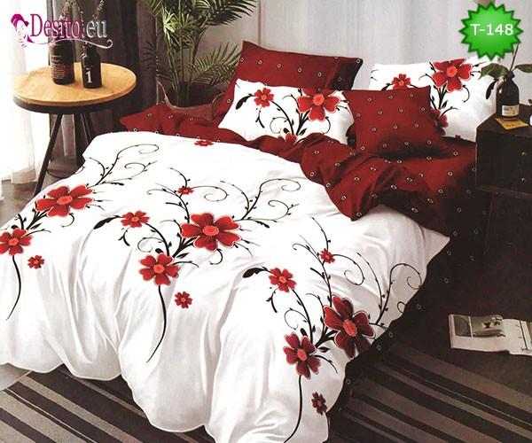 Спално бельо от 100% памук, 6 части - двулицево, с код T-148
