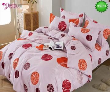 Спално бельо от 100% памук, 6 части и чаршаф с ластик с код X5-01