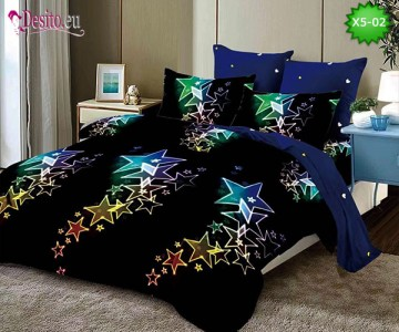 Спално бельо от 100% памук, 6 части и чаршаф с ластик с код X5-02