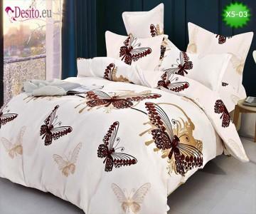 Спално бельо от 100% памук, 6 части и чаршаф с ластик с код X5-03