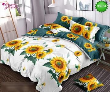 Спално бельо от 100% памук, 6 части и чаршаф с ластик с код X5-04
