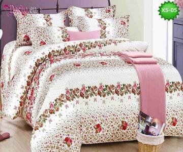 Спално бельо от 100% памук, 6 части и чаршаф с ластик с код X5-05