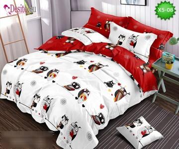 Спално бельо от 100% памук, 6 части и чаршаф с ластик с код X5-08