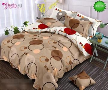Спално бельо от 100% памук, 6 части и чаршаф с ластик с код X5-09