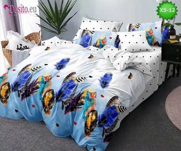 Спално бельо от 100% памук, 6 части и чаршаф с ластик с код X5-12