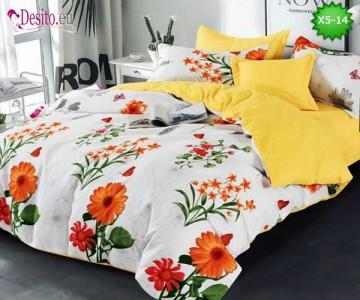 Спално бельо от 100% памук, 6 части и чаршаф с ластик с код X5-14
