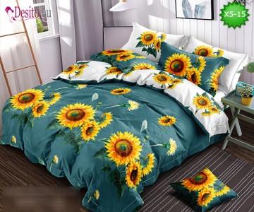 Спално бельо от 100% памук, 6 части и чаршаф с ластик с код X5-15