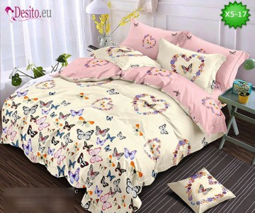 Спално бельо от 100% памук, 6 части и чаршаф с ластик с код X5-17