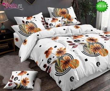 Спално бельо от 100% памук, 6 части и чаршаф с ластик с код X5-18