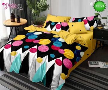 Спално бельо от 100% памук, 6 части и чаршаф с ластик с код X5-21