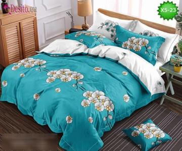 Спално бельо от 100% памук, 6 части и чаршаф с ластик с код X5-23