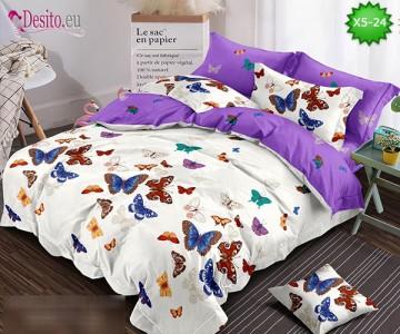 Спално бельо от 100% памук, 6 части и чаршаф с ластик с код X5-24