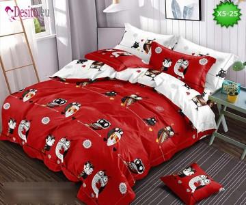 Спално бельо от 100% памук, 6 части и чаршаф с ластик с код X5-25