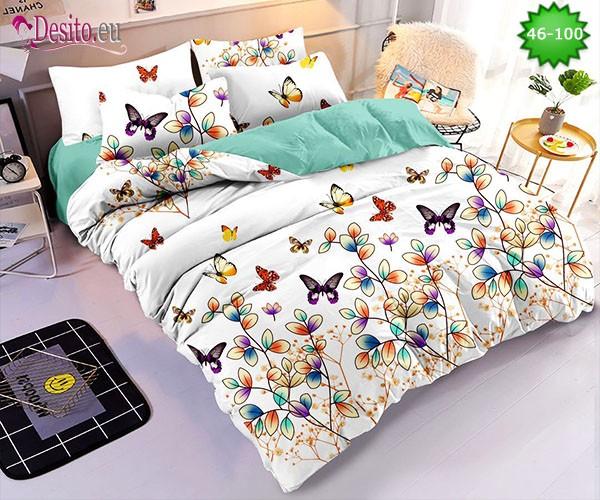 Спално бельо от 100% памук, 6 части - двулицево, с код 46-100