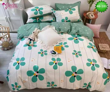 Спално бельо от 100% памук, 6 части - двулицево, с код 46-101