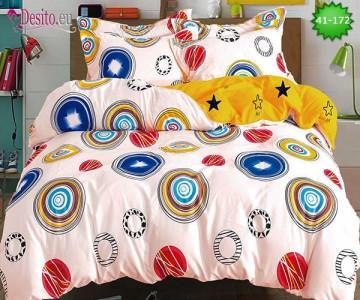 Спално бельо от 100% памук, 6 части - двулицево, с код 41-172
