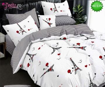 Спално бельо от 100% памук, 6 части - двулицево, с код 41-175
