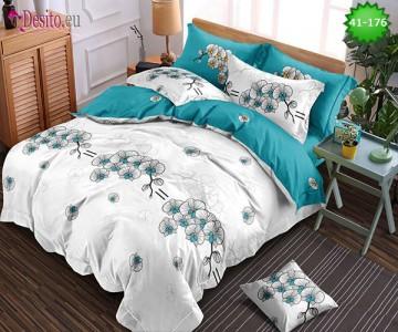 Спално бельо от 100% памук, 6 части - двулицево, с код 41-176
