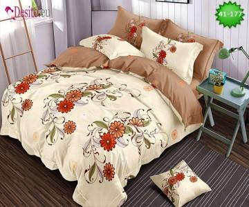 Спално бельо от 100% памук, 6 части - двулицево, с код 41-177