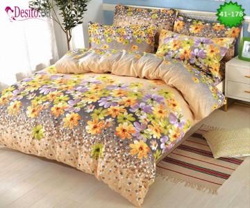 Спално бельо от 100% памук, 6 части - двулицево, с код 41-178