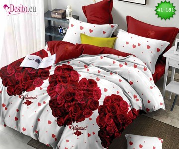 Спално бельо от 100% памук, 6 части - двулицево, с код 41-181