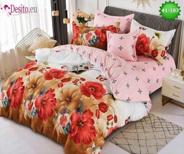 Спално бельо от 100% памук, 6 части - двулицево, с код 41-183