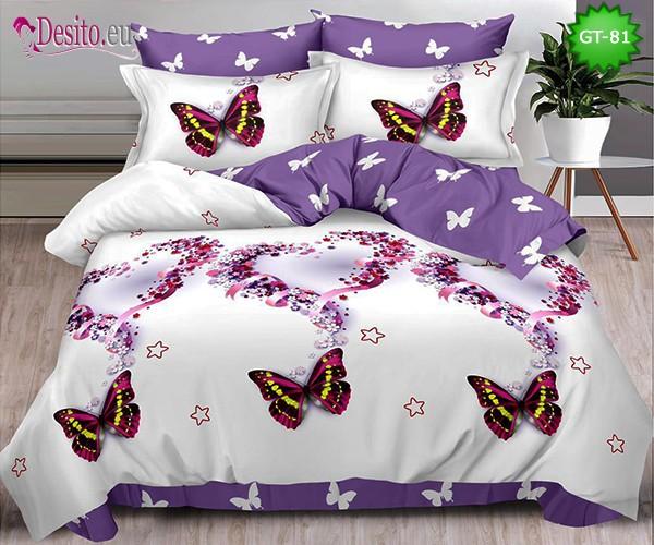 Спално бельо от 100% памук, 6 части и чаршаф с ластик с код GT-81