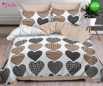 Спално бельо от 100% памук, 6 части и чаршаф с ластик с код GT-82