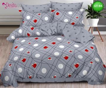 Спално бельо от 100% памук, 6 части и чаршаф с ластик с код GT-84