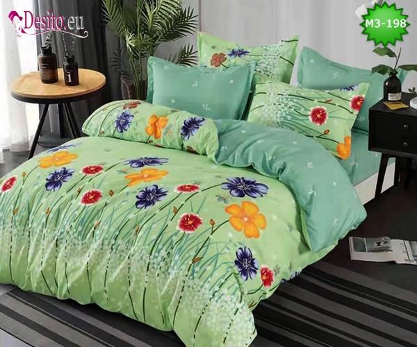 Спално бельо от 100% памук, 6 части, двулицево с код M3-198