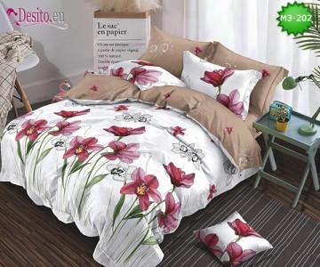 Спално бельо от 100% памук, 6 части, двулицево с код M3-202
