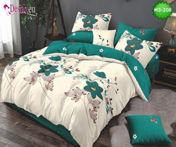 Спално бельо от 100% памук, 6 части, двулицево с код M3-208