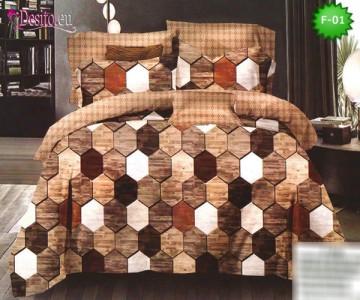 Единично спално бельо 100% памук, 4 части с код F-01