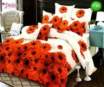 Единично спално бельо 100% памук, 4 части с код F-02