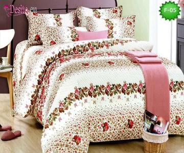 Единично спално бельо 100% памук, 4 части с код F-05
