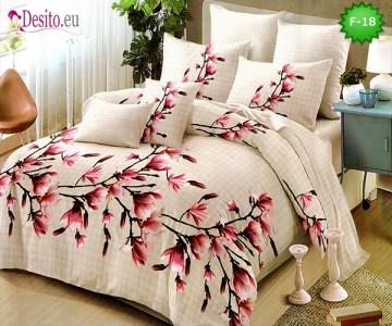 Единично спално бельо 100% памук, 4 части с код F-18
