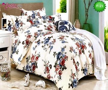 Единично спално бельо 100% памук, 4 части с код F-21