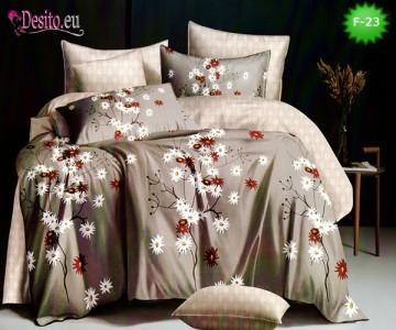 Единично спално бельо 100% памук, 4 части с код F-23