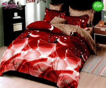 Единично спално бельо 100% памук, 4 части с код F-24