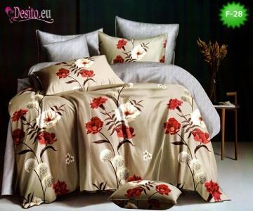 Единично спално бельо 100% памук, 4 части с код F-28