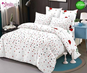 Спално бельо от 100% памук, 6 части - двулицево, с код C7-209