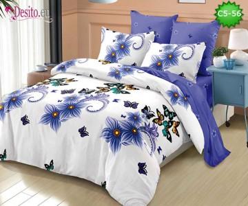 Спално бельо от 100% памук, 6 части и чаршаф с ластик с код C5-56
