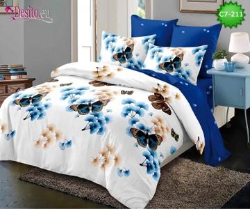 Спално бельо от 100% памук, 6 части - двулицево, с код C7-211